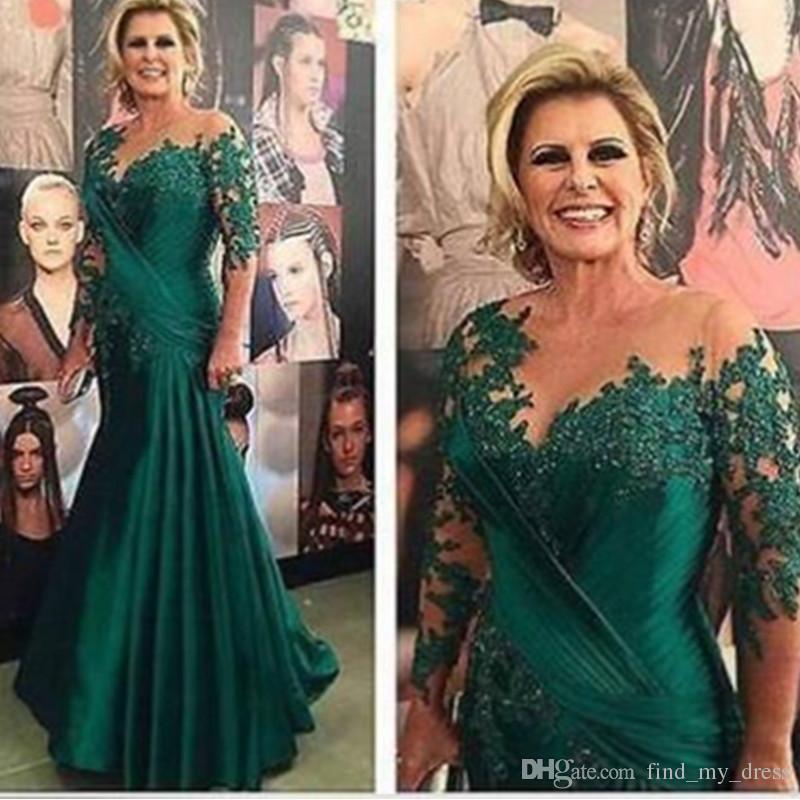 2019 Yeni See Through Pileli Dantel anne Gelin Elbise Mermaid Hunter Yeşil Vintage Kırmızı Halı Aplike Sıcak Satış Örgün Abiye giyim