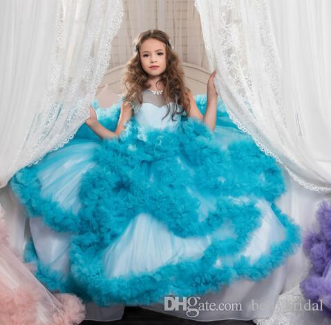 Cute Spring Luxury Pregant Puffy Plus Size Long Flower Girl Dresses