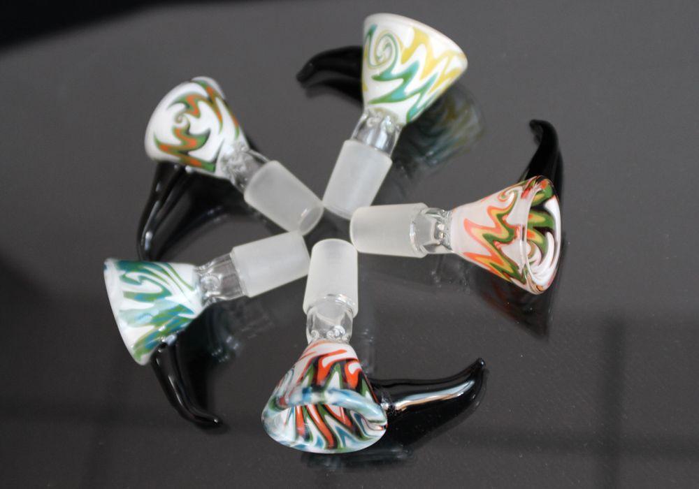 Colorido bacia de vidro peças para Bongs Feminino Masculino 14 milímetros 18 milímetros de tela Ash Catcher Com Pente taças de vidro redonda para plataformas petrolíferas vidro Bongs