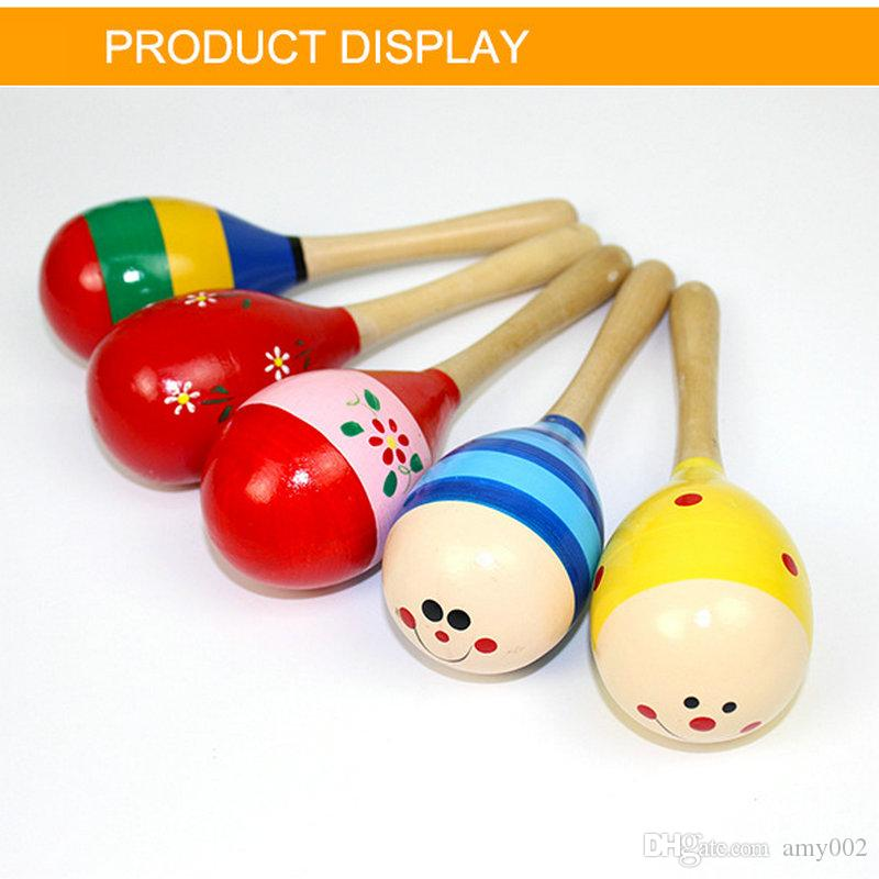 hot 12cm Baby Wooden Toy Rattle Baby cute Rattle toys Orff musical instruments Educational Toys baby Sand ball sand hammer 12-20cm