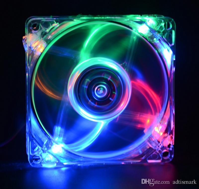 pc computer fan case cooling fan unit 8025 8cm with LED lights chassis fan 80*80*25