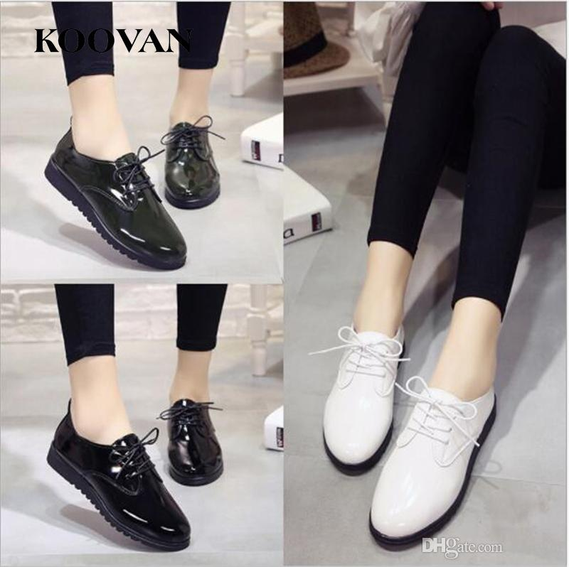 f286be63d0dc Koovan Fashion Women Shoes 2017 New Summer Flat Bottom Patent Leather  Ladies Shoes Korean Style Pointed Toe Shallow Mouth W107 Shoe Boots Sexy  Shoes From ...
