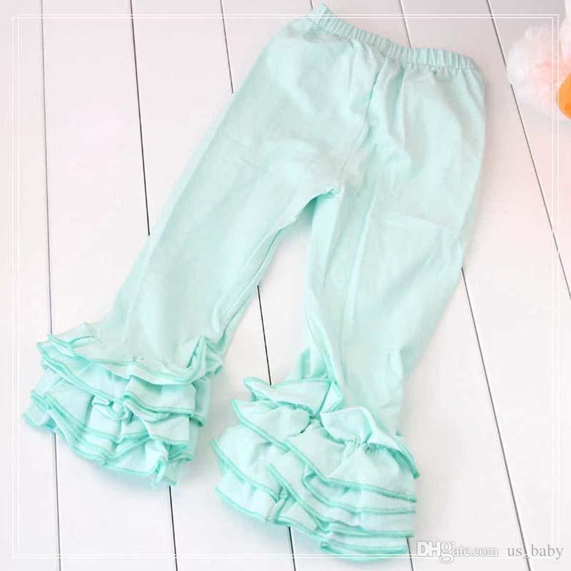 Pantaloni bambini 3 strati Mint Aqua Ghiacciato Ruffle Leggings Pantaloni bambini Nessun arco 1-8 T Primavera Autunno Giallo rosa Vestiti