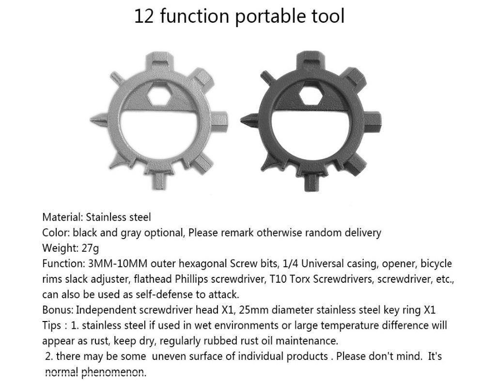 12 Funktioner Multi Tool Skruvmejsel Portabel Cykel Reparation Handverktyg Multitools Skruv Driver Allen Key RingTool
