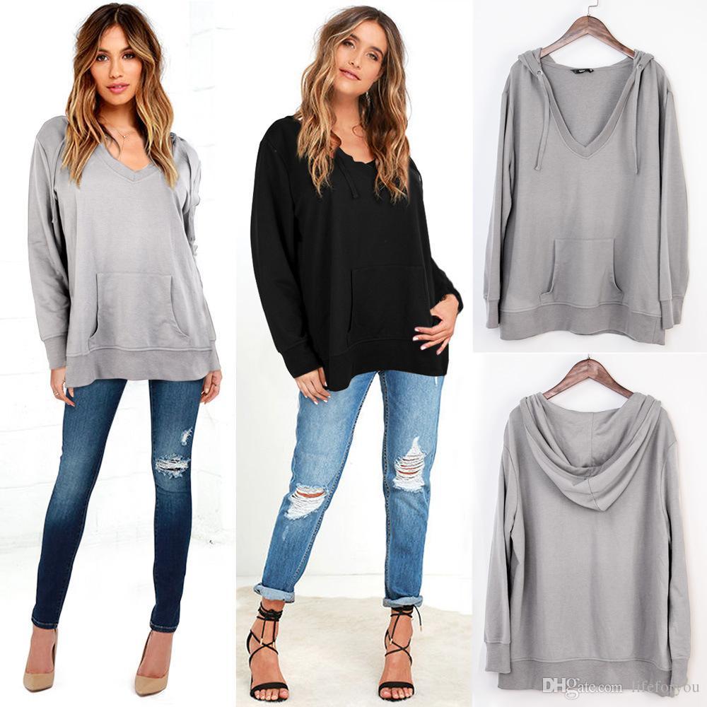 2018 Womens Sweatshirts Brand Sweater Sexy V Collar Sweaters ...