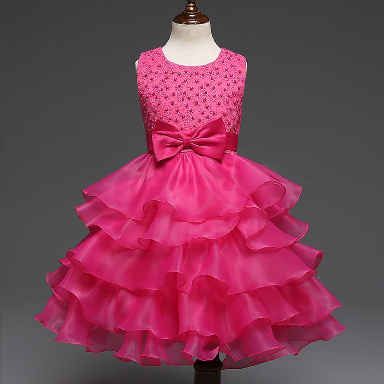 Großhandel Blumenmädchen Kleid Tüll Ball Hochzeit Bogen Perlen Fuchsia  Tiered Pageant Sommer Prinzessin Party Kleider Blumenmädchen Baby Kleid Von