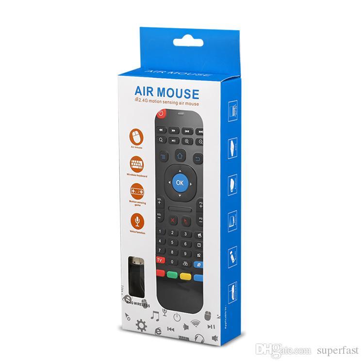 Mando a distancia sin hilos del teclado del ratón del aire Mando a distancia sin hilos QWERTY inalámbrico 2.4GHz para la caja de Android TV HTPC con la caja al por menor