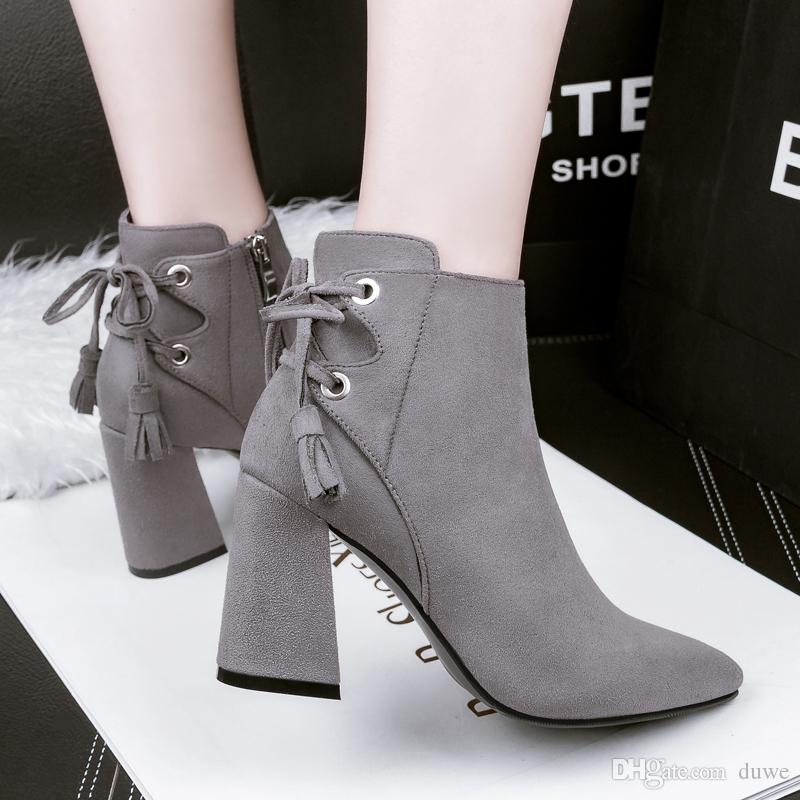 Shoes Woman Flock Lace Up Ankle Boots Pointed Toe Winter Zipper Short Boot  Chunky High Heels Tassel Martin Boots Green Gray Black Heels Boot From  Duwe, ...
