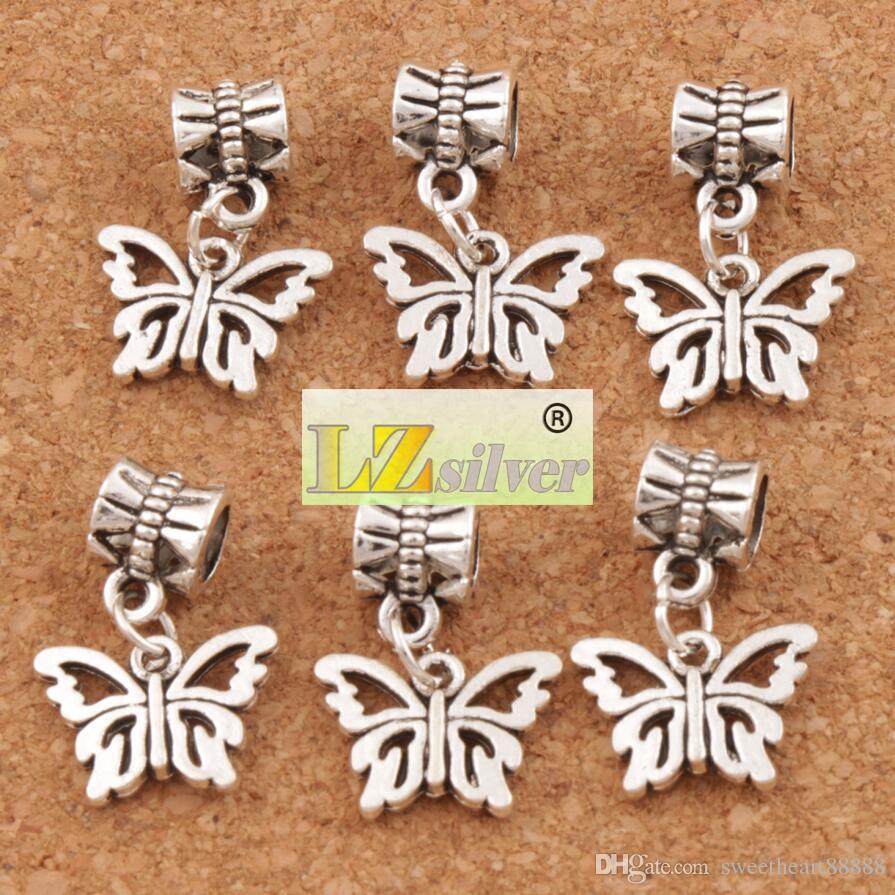 Open Bloem Papilio Butterfly Big Hole Kralen 100 stks / partij Antiek Zilver Fit Europese Charme Armbanden Sieraden DIY B1108 15x30mm