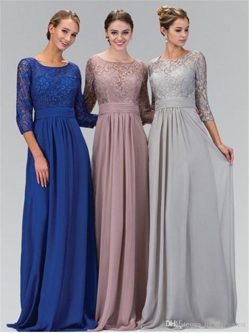 Prata modestas vestidos de dama de honra por muito tempo com mangas curtas rendas chiffon chão comprimento 3/4 mangas modestas país damas de damas de honra venda