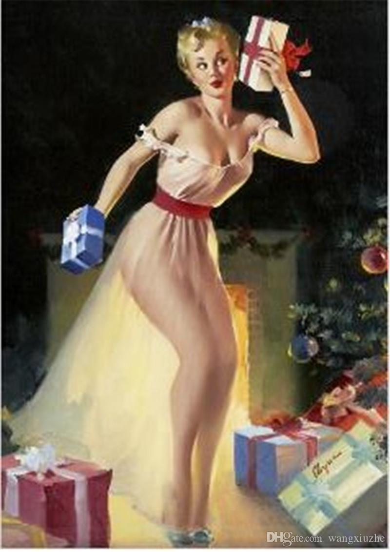 Geely served illustration world famous Frameless retro sexy girl wall illustrator decorated poster painting