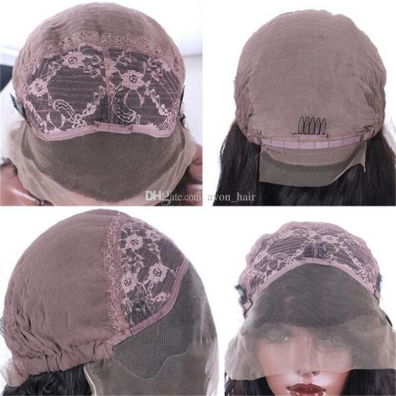 Бразильский 8А Объемная Волна Девы Человеческих Волос Glueless Полный Парик Шнурка Человеческих Волос Парики Фронта Шнурка С Волосами Младенца Для Чернокожей Женщины