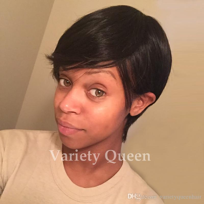 Real Human Hair Pixie Cut Black Short Wig For Black Women Adjustable