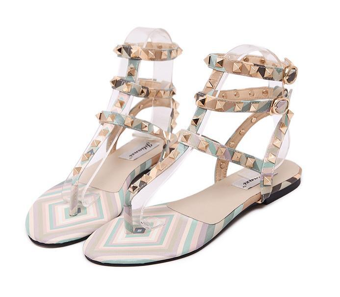 Women rivet flat sandals flip flops multi colors patchwork T strappy casual shoes size 35 to 39