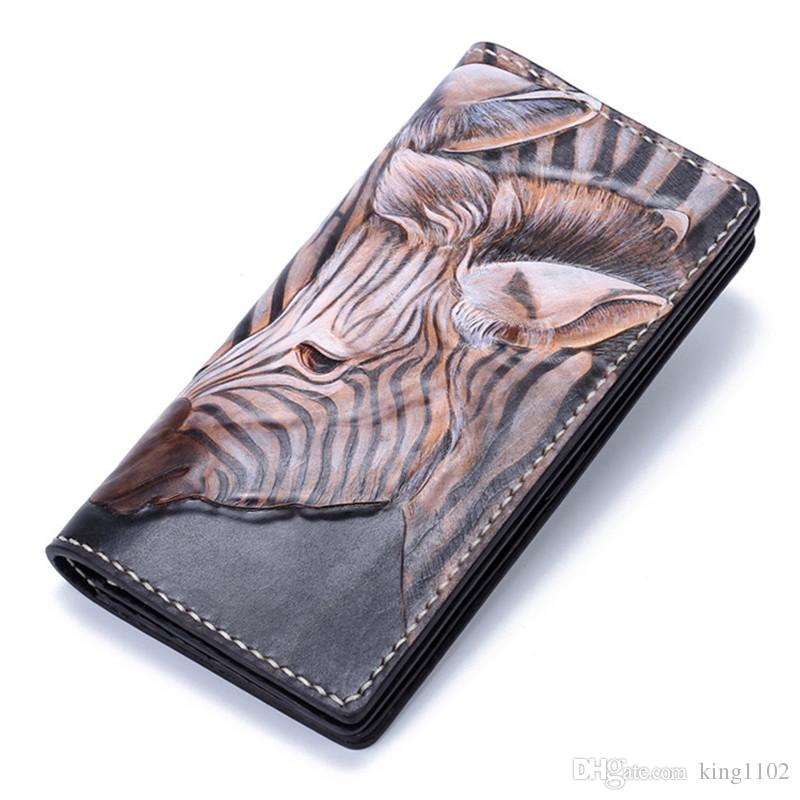 74865f71cfa5 Handmade Genuine Leather Wallets Carving Zebra Bag Purses Women Men Long  Clutch Vegetable Tanned Leather Wallet Card Holder Designer Wallets Hobo  Wallet ...