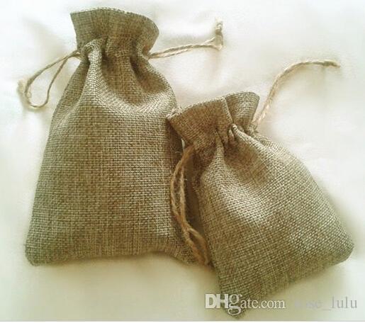 الجملة 8x11 سنتيمتر 50 قطع الطبيعية الجوت اللون الرباط حقيبة أكياس للتخزين / diy / ديكور المنزل هدية حقيبة شحن مجاني