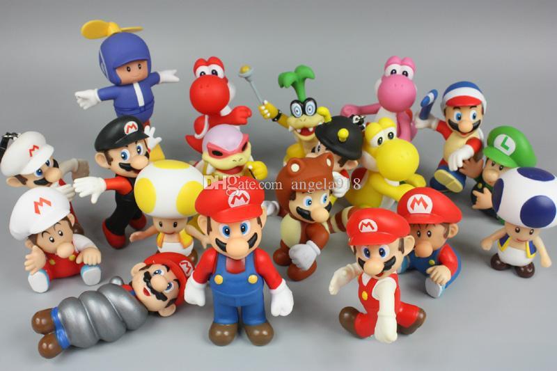Mario Bros Luigi donkey kong youshi mario peach Action Figures PVC Doll Mixed style E1922