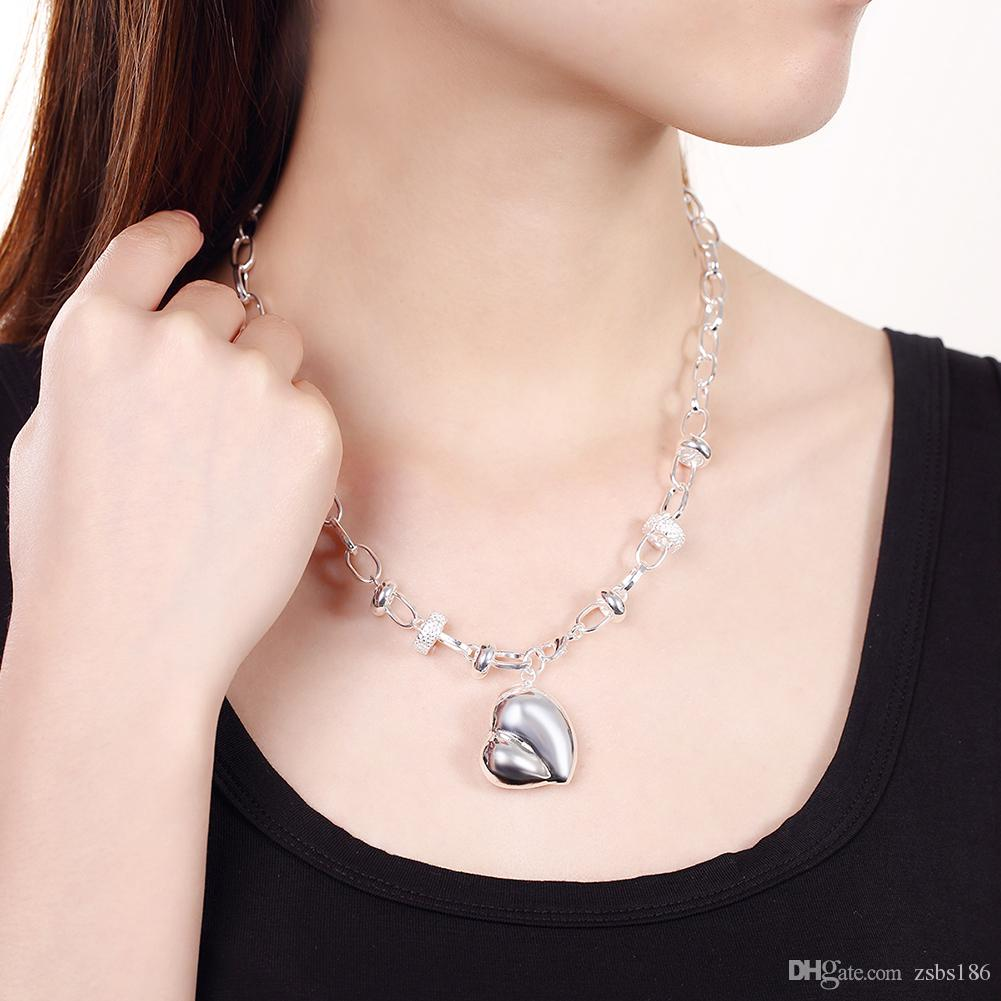 S014 Fashion Jewelry Set 925 Silver Heart Pendant Necklace & Bracelet wedding gift for woman