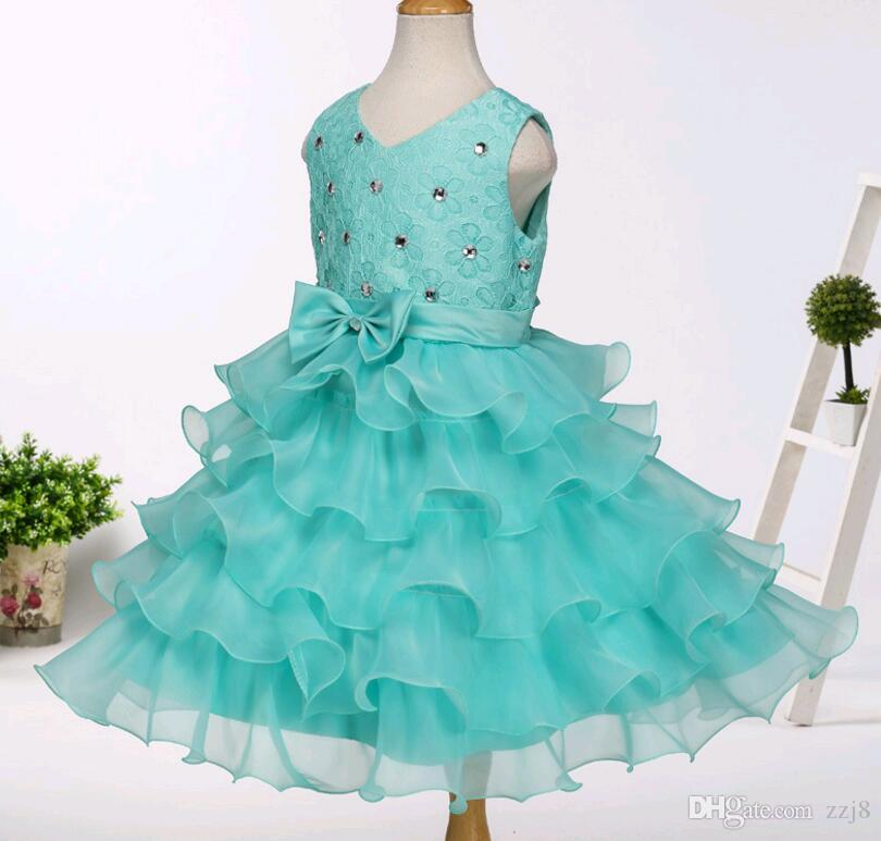 Summer Korean Girl Wedding Party Dress Kids Puffy Ruffles Lace Beaded Princess Prom Dresses Blue Red Colour