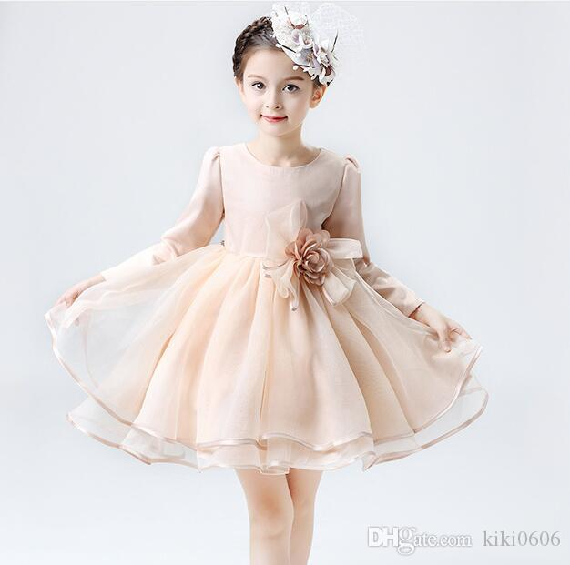 Ball Gown Short/Mini Tutu Long Sleeves Boat Neck Cheap Flower Girl Dresses for Wedding with Petals