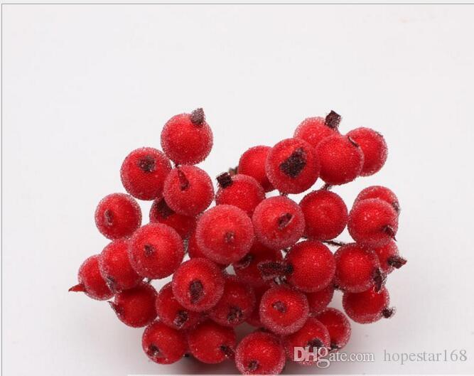 40 헤드 미니 가짜 과일 유리 딸기 인공 석류 붉은 체리 부케 오시 베, 수술 크리스마스 장식 더블 헤드