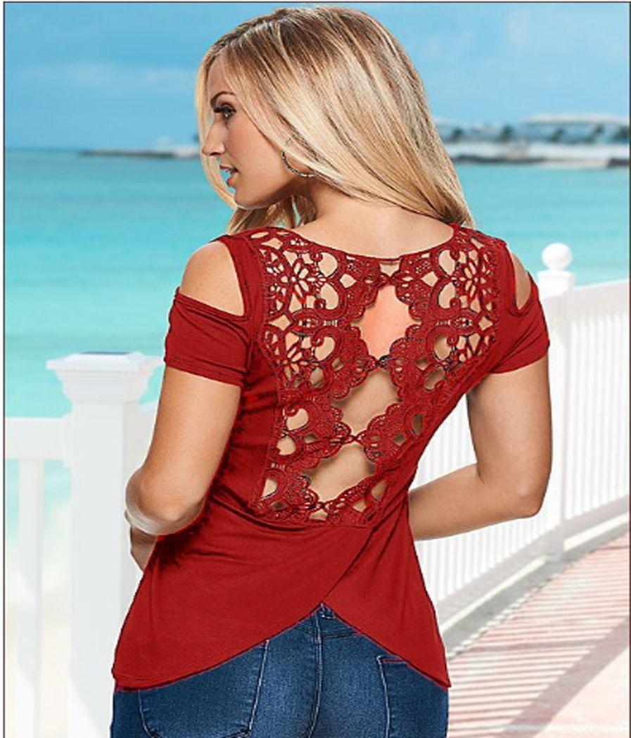 Summer New Sexy Fashion Shirt European American Back Lace Stitching Solid Cotton Shirt Wild T Shirt Plus Size Women S M L XL XXL XXXL