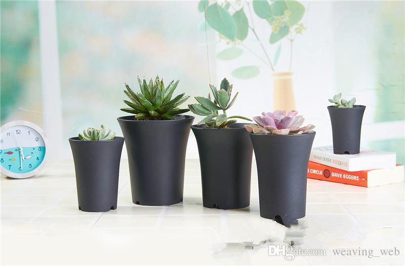Black White Plastic Mini Flower Pot Home Office Desk Indoor Potted