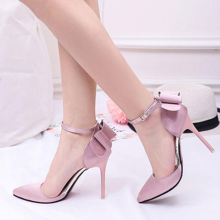 2017 estate stile europeo dolce bowknot fibbia cinturino i moda 10 cm tacchi alti scarpe da sposa pu punta scarpe da sposa sexy rosso