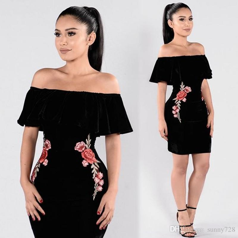 High Quality Embroidery Flower Black Velvet Women Party Dress 2017 Newest Sexy Off Shoulder Cap Sleeves Mini Formal Dress