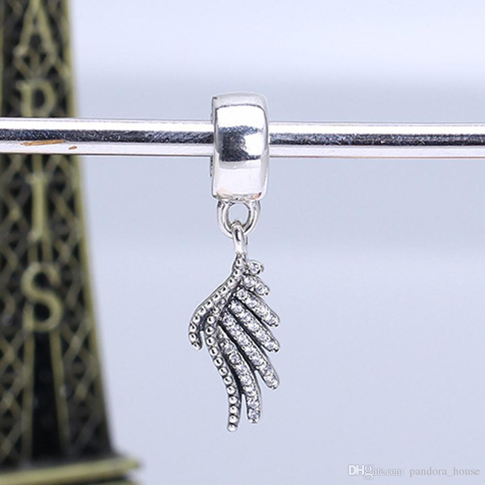 En gros 925 Sterling Silver Non Plaqué Aile d'ange CZ Pendentif Charme Charmes Européennes Perles Fit Pandora Serpent Chaîne Bracelet DIY Bijoux