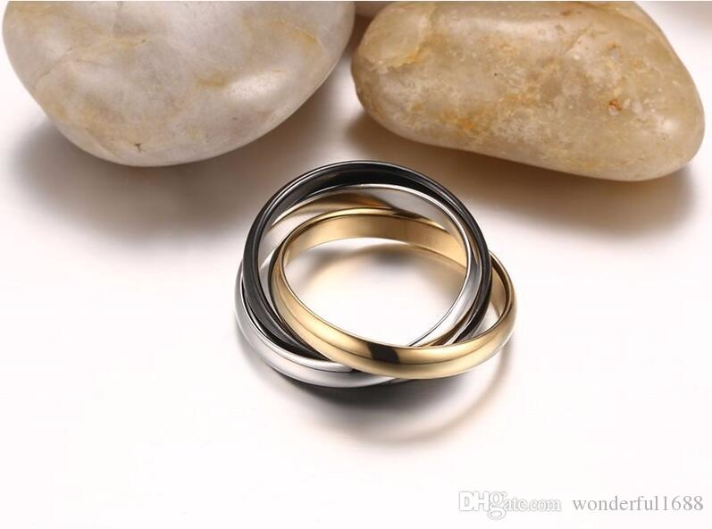 Classic 3 Rounds Ring Sets For Women Stainless Steel Wedding Engagement