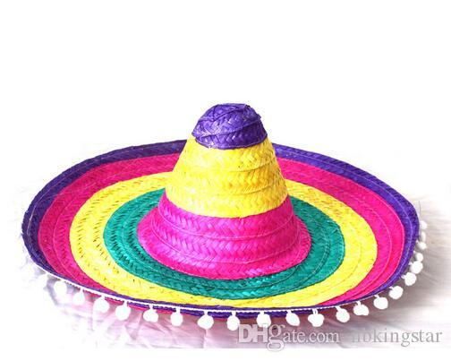 Party Hat Cosplay Costume Hawaii Mexico Big Large Brim Straw Cap With Pompoms Balls Funny Free Shipping