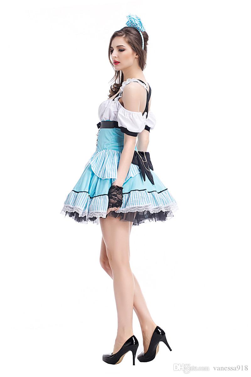 Halloween Maid Costumes Womens Alice in Wonderland Costume Suit Maids Lolita Fancy Dress Cosplay Costume for Girl with free gift bag PS040