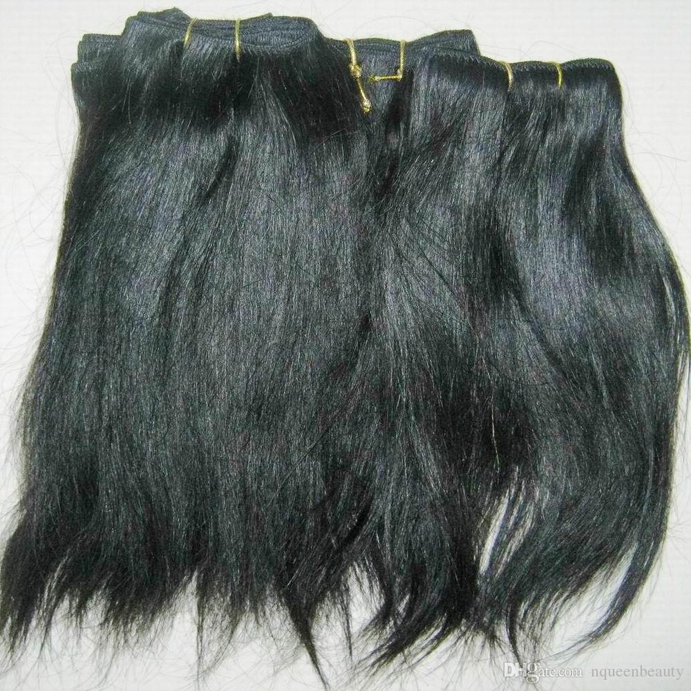 ondulée droite Weaves traités Extension de cheveux humains Couleur Noir Indien prix pas cher