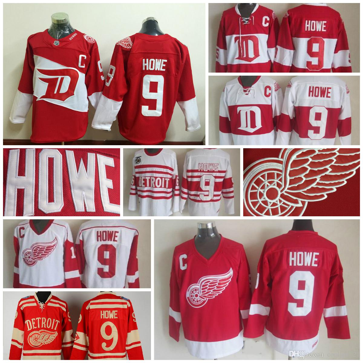 3d8c70eb8 ... Throwback Detroit Red Wings Jerseys 9 Gordie Howe Jerseys Home Red  Vintage Winter Classic Red White ...