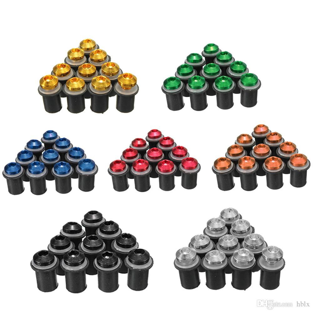 Rubber Well Nuts /& M5 Coloured Motorcycle Screen Bolts Screws 10 Pk Silver