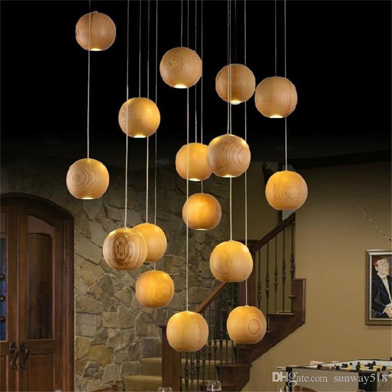 Modern Led Wood Chandelier Creative Wooden Ball Pendant Lamp Light Meteoric Shower Stair Restaurant Ceiling Lamps