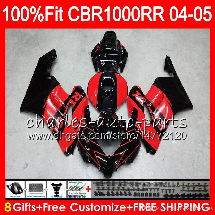 Einspritzkörper Für HONDA rot schwarz CBR1000 RR CBR 1000RR 04 05 79NO84 100% Passform CBR1000RR 04 05 Karosserie CBR 1000 RR 2004 2005 Verkleidungssatz