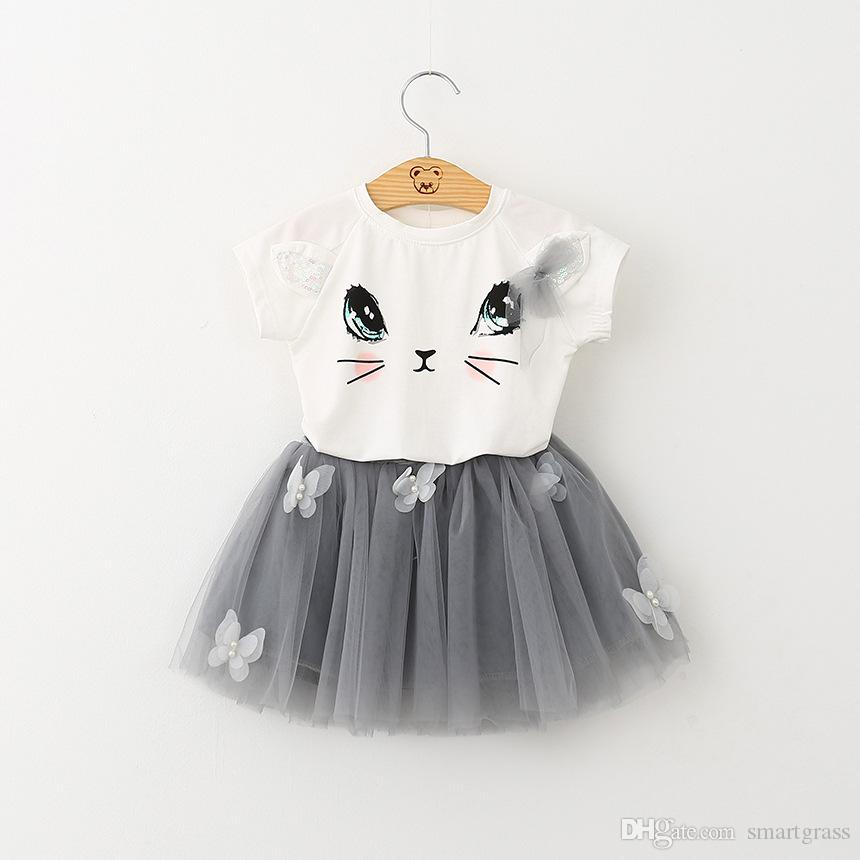여름 아기 소녀 옷은 귀여운 고양이 프린트 티 셔츠와 투투 스커트 정장 세트 2 조각 의상 17070701을 설정합니다