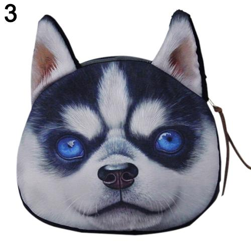 Wholesale- coin purses wallet ladies 3D printing dogs animal big face change fashion cute small zipper bag for women BVLJ