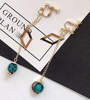 3fc6abc26 Hot Korea minimalist small diamond Vintage Rosary ear Clip Stud women aesthetic  temperament copper pendant Non