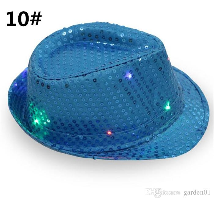 LED Jazz Chapéus Piscando Luz Up Levou Fedora Trilby Lantejoulas Tampas Fancy Dress Dance Party Chapéus de Hip Hop Lâmpada Luminosa chapéu G095