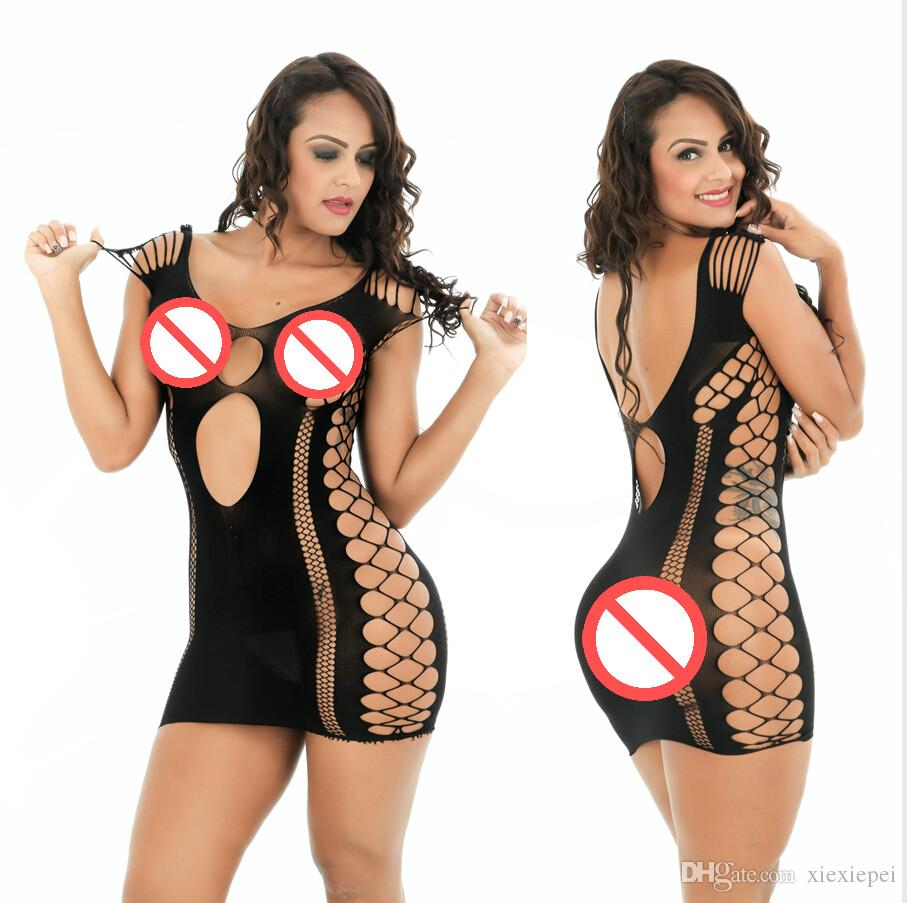 Sexy Hot Erotic Stripe Rete a rete Lingerie Lenceria Babydoll Teddy Body Cat Suit Abito da notte Porno in lattice Grande Taille Fetish