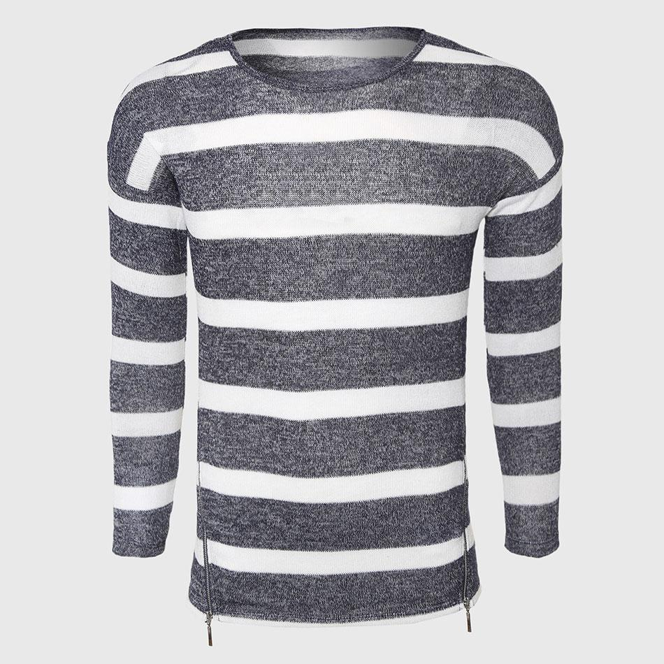 2018 Wholesale Grey White Striped Sweaters Men Cotton Cable Knit ...