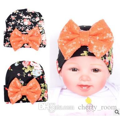 1e4daf29bd7 2019 Newborn Hat Floral Sequin Butterfly Floral Infant Cotton Photography  Cute Flower Printed Bow Baby Hats Girls Fashion Caps 7466 From Cherry room