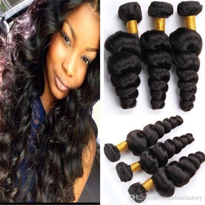 Brazilian Loose Wave Human Hair Bundles 8a Loose Curly Hair Weave