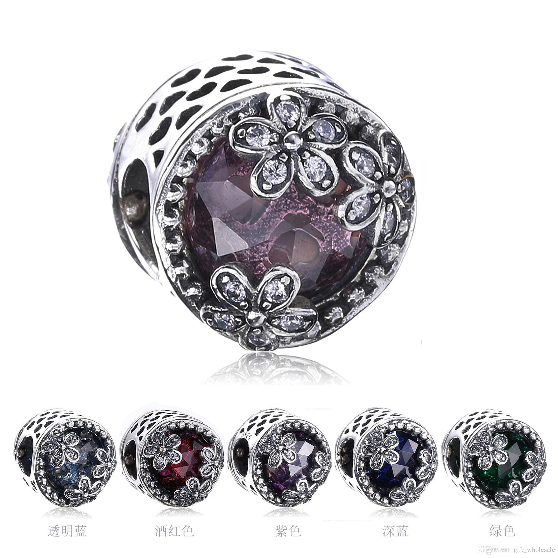 New Authentic Real 925 Sterling Silver Floral Cubic Zirconia European Charms Bead Fit Pandora Chain Bracelet DIY Fashion Jewelry 925 Sterling Silver Charms