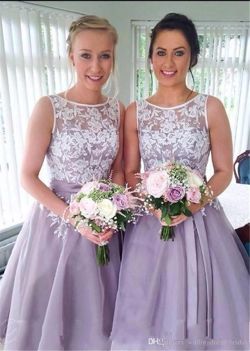 Vintage tea length lace bridesmaid dress appliques 2018 scoop vintage tea length lace bridesmaid dress appliques 2018 scoop lavender bridesmaid dresses cap sleeve prom dress organza wedding party gowns one strap ombrellifo Image collections