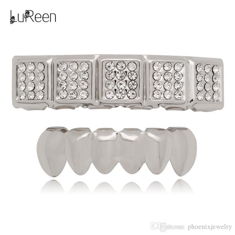 LuReen Gold Silver 5 Square Iced Out CZ Top Teeth and 6 Bottom Grillz Hip Hop Teeth Caps for Men Women Party Jewelry