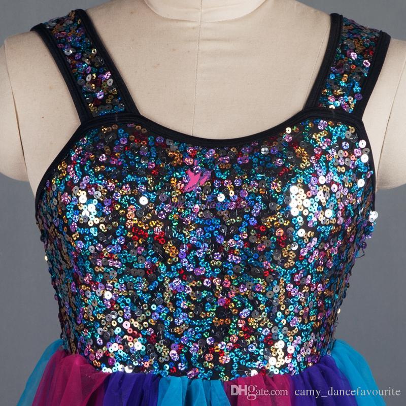 Chegada nova Dança Lírica Lantejoula Vestido para Mulheres Ballet Dance Costume Contemporânea Vestido Show de Palco Desempenho Traje Collant Vestido